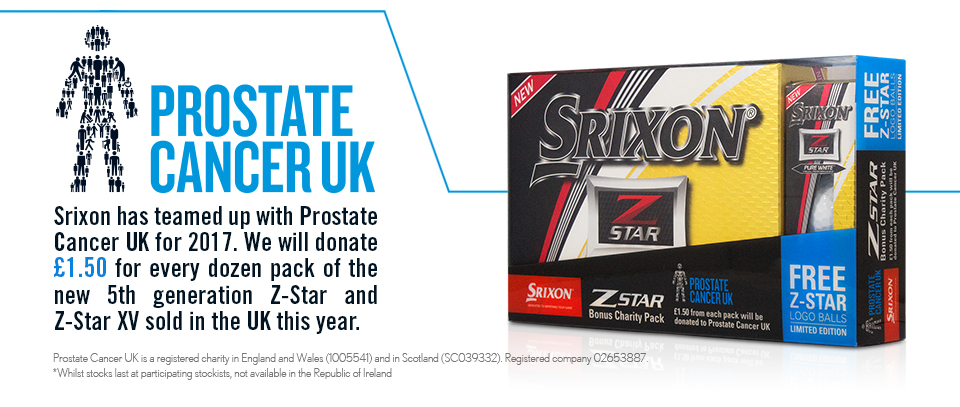 Srixon has teamed up with Prostate Cancer UK for 2017. We will donate £1.50 for every dozen pack of the new 5th generation Z-Star and Z-Star XV golf balls sold in the UK this year.