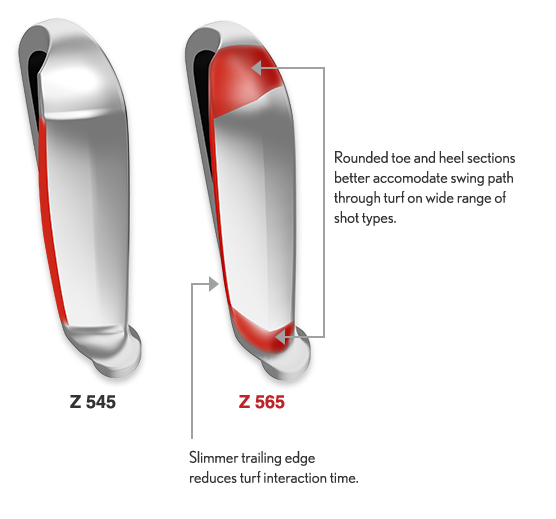 Diagram showing differences in sole shape  between Srixon Z545 golf clubs and the new Srixon Z565 range. Rounded toe and heel sections of the new Z 656, better accomodate swing path through turf on wide range of shot types, whilst slimmer trailing edge reduces turf interaction time.